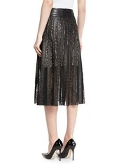 Alice + Olivia Tianna Studded Leather & Floral Lace Skirt