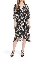 Alice + Olivia Tie Waist Ruffle Midi Dress