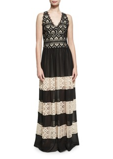 Alice + Olivia Tilly Lace Insert Maxi Dress