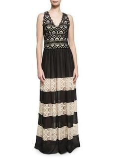 Alice + Olivia Tilly Lace Insert Maxi Dress