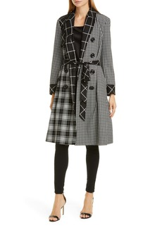 Alice + Olivia Timpson Patchwork Plaid Double Breasted Trench Coat