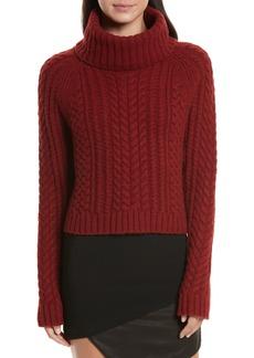 Alice + Olivia Tobin Cable Knit Crop Turtleneck Sweater