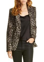 Alice + Olivia Toby Fitted Leopard Print Stretch Cotton Blend Blazer