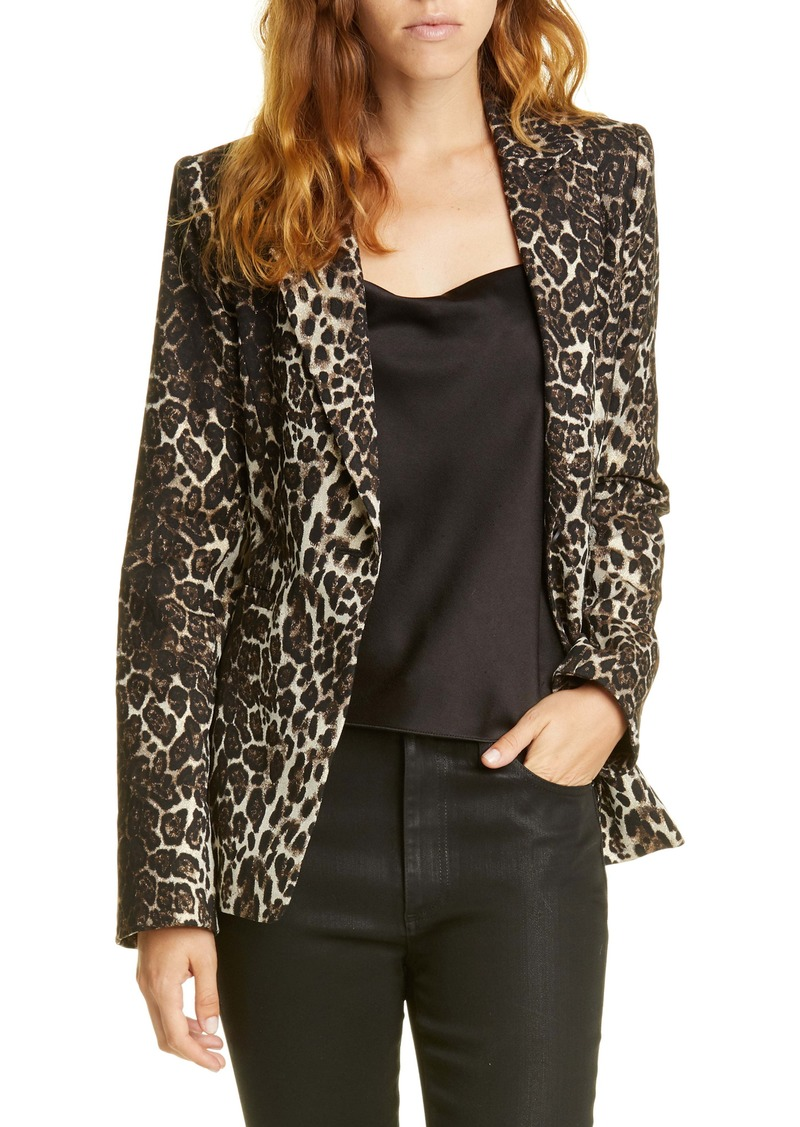 Alice + Olivia Toby Fitted Leopard Print Stretch Cotton Blend Blazer
