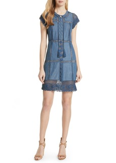 Alice + Olivia Tona Patchwork Chambray Dress