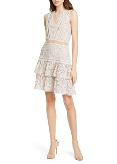 Alice + Olivia Tonie Embroidered Eyelet Minidress