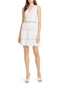 Alice + Olivia Tonie Lace Trim Eyelet Dress
