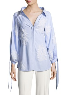 Alice + Olivia Toro Button-Front Pinstriped Shirt with Embroidery
