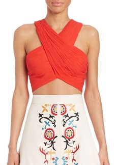 Alice + Olivia Tracee Cropped Crossover Top