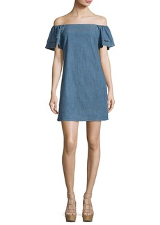 Alice + Olivia Tula Off-the-Shoulder Chambray Shift Dress