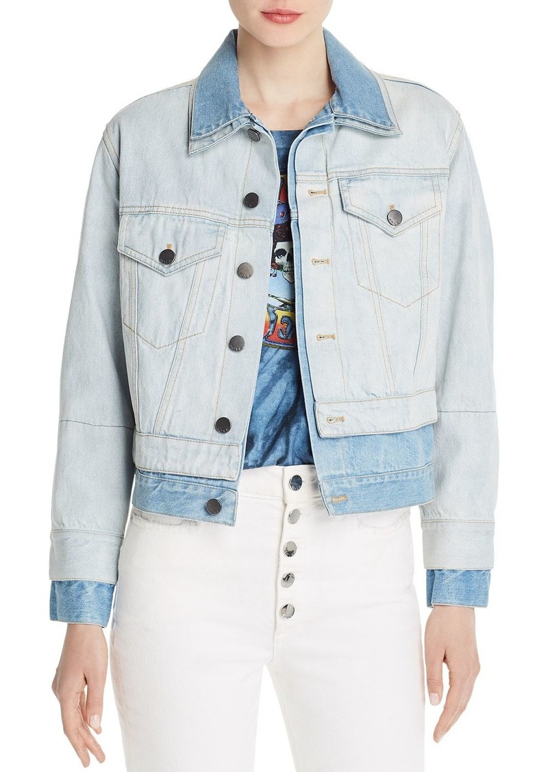 Alice + Olivia Two-Tone Layered-Look Denim Jacket