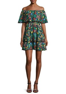 Alice + Olivia Tylie Floral-Print Off-the-Shoulder Ruffle Mini Dress