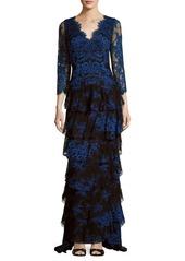Alice + Olivia V-Neck Embroidered Dress