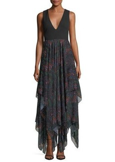 Alice + Olivia V-Neck Maxi Dress w/ Chiffon Skirt