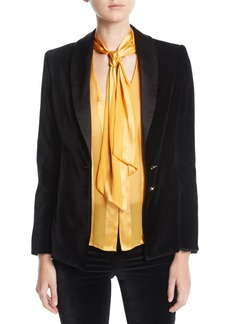 Alice + Olivia Vance Two-Button Velvet Blazer