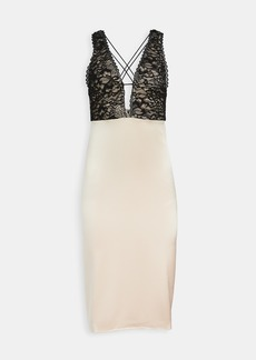 alice + olivia Vanita Lace Combo Fitted Mid Dress