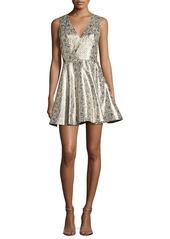 Alice + Olivia Varita Metallic Cutout Fit & Flare Party Dress