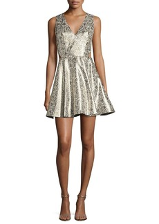 Alice + Olivia Varita Metallic Cutout Fit & Flare Party Dress