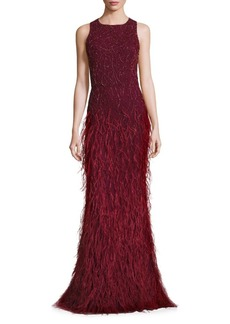 Alice + Olivia Vaughn Embellished Feather Gown