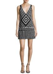 Alice + Olivia Venetia Embellished A-Line Short Dress