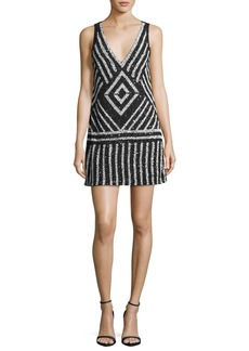 Alice + Olivia Venetia Embellished A-Line Short Dress