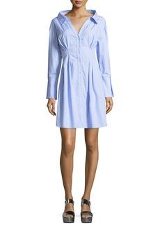 Vergie Button-Front Striped Shirtdress