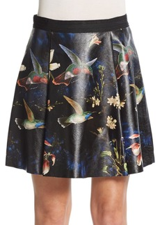 Alice + Olivia Vernon Printed Leather Skirt