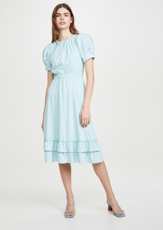 alice + olivia Vida Puff Sleeve Ruffle Midi Dress