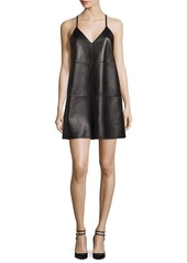 Alice + Olivia Vikki Racerback Studded Leather Cocktail Dress