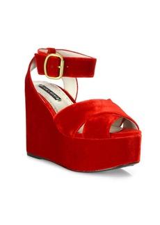 Alice + Olivia Violet Velvet Platform Wedge Sandals