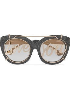 Alice + Olivia Walker cat-eye glittered acetate and gold-tone sunglasses