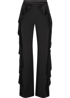 Alice + Olivia Wallace satin ruffled-trimmed crepe wide-leg pants