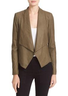Alice + Olivia 'Warren' Short Drape Front Leather Jacket