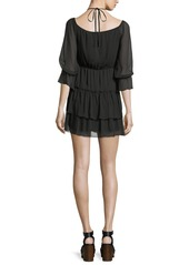 Alice + Olivia Waylon Boat-Neck Blouson-Sleeve Dress