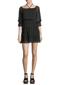 Alice + Olivia Waylon Boat-Neck Blouson-Sleeve Dress