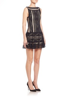 Alice + Olivia Wendie Embroidered Drop-Waist Dress