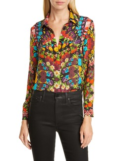 Alice + Olivia Willa Floral Pleated Placket Silk Blouse