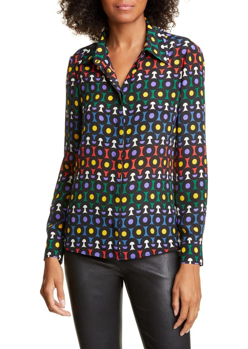 Alice + Olivia Willa Large Collar Print Silk Shirt