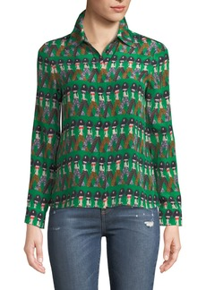 Alice + Olivia Willa Large-Collar StaceFace Printed Silk Top