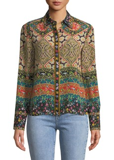 Alice + Olivia Willa Long-Sleeve Button-Front Mixed-Print Silk Top