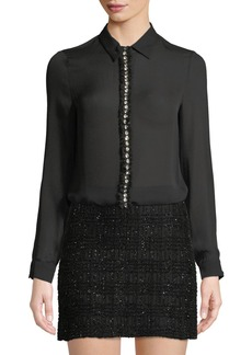 Alice + Olivia Willa Long-Sleeve Silk Top with Embellished Placket
