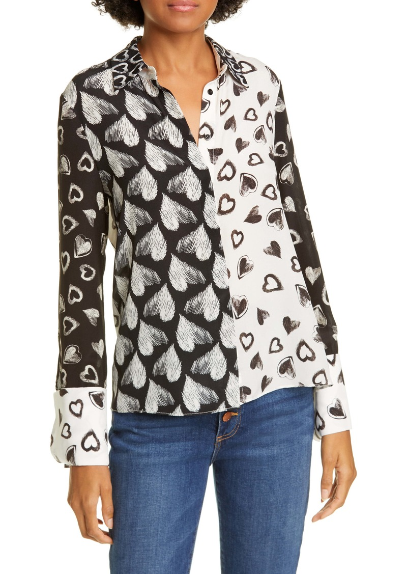 Alice + Olivia Willa Sketched Hearts Silk Blouse