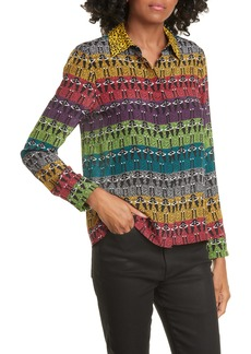 Alice + Olivia Willa Stace Face Rainbow Silk Shirt