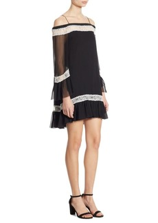 Alice + Olivia Willie Cold-Shoulder Bell Sleeve Silk Dress