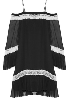 Alice + Olivia Willie cold-shoulder lace-trimmed silk-chiffon mini dress