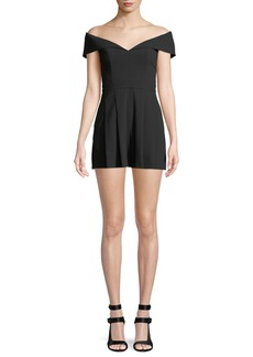 Alice + Olivia Wilmarie Off-the-Shoulder Romper