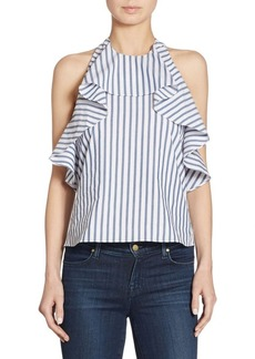 Alice + Olivia Windy Ruffled Cotton Swing Top