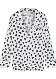Alice + Olivia Woman + Morgan Lane Keir Appliquéd Printed Satin Pajama Shirt White