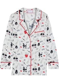 Alice + Olivia Woman + Morgan Lane Keir Printed Satin Pajama Top White