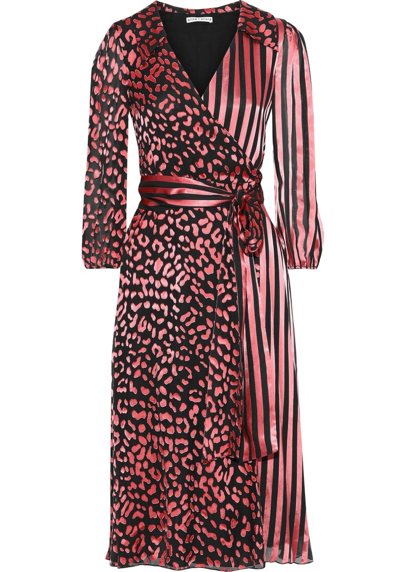 Alice + Olivia Woman Abigail Burnout Silk-blend Satin Midi Wrap Dress Pink